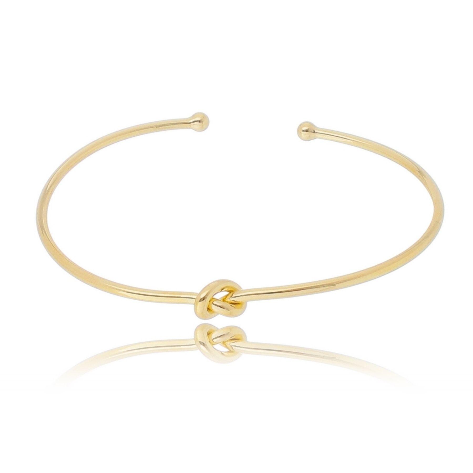 Bracelete aro aberto fino liso com nó central banho ouro 18k