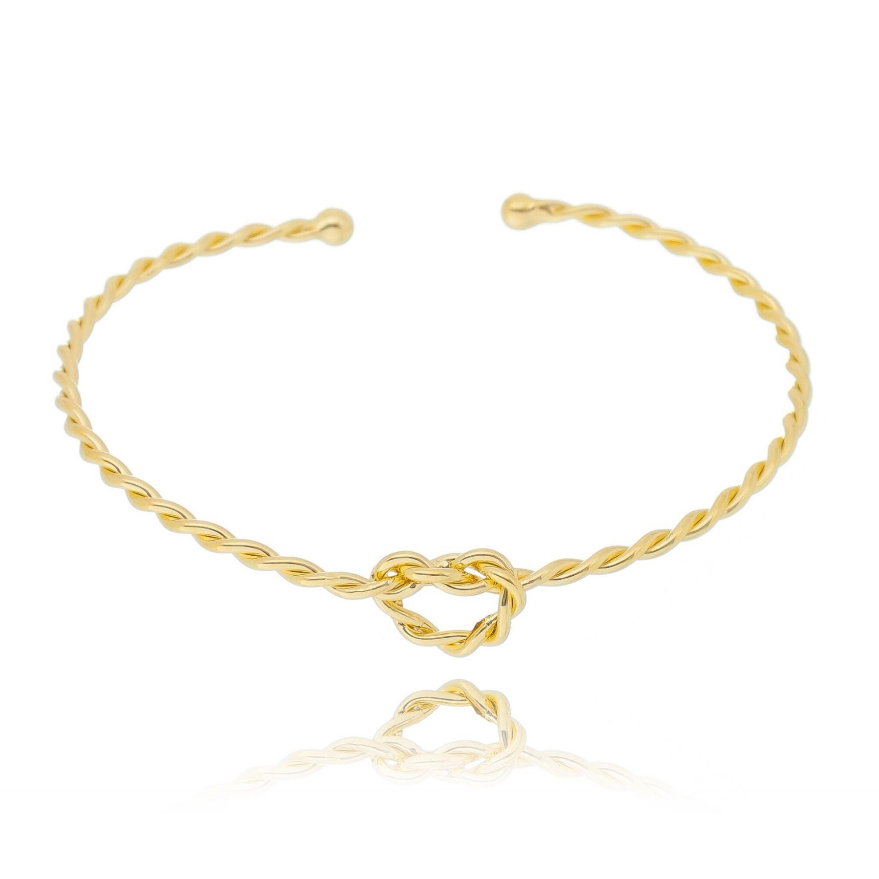Bracelete aro aberto fino torcido com nó central banho ouro 18k