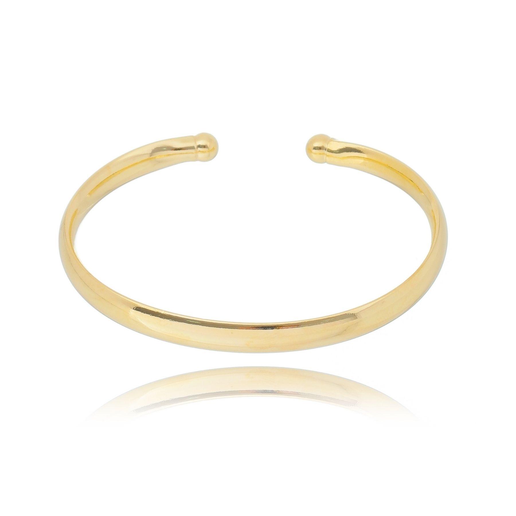 Bracelete aro aberto grosso liso com banho ouro 18k