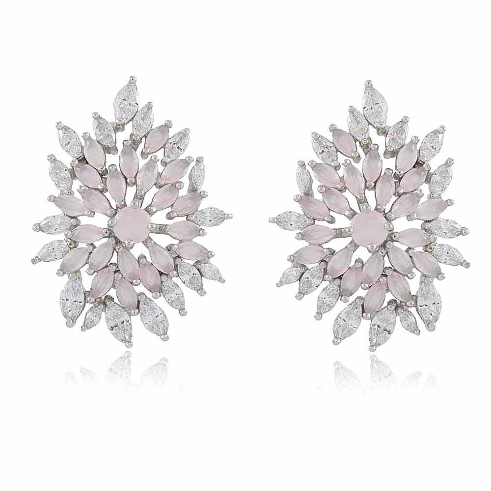 Brinco Abella: Brinco Médio Sofisticado com cristais e Quartzo rosa