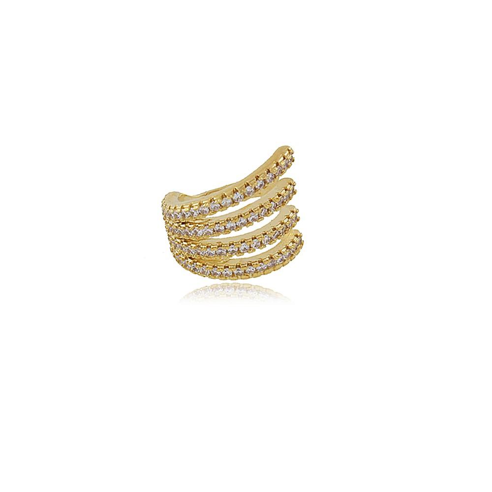 Brinco Achila: Piercing de Orelha Dourado Cravejado em Micro Cristais