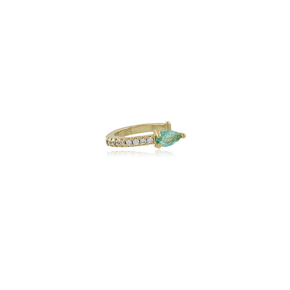 Brinco Ada: Piercing de Orelha Fino Dourado Com Lateral em Micro Cristais e Pedra Esmeralda