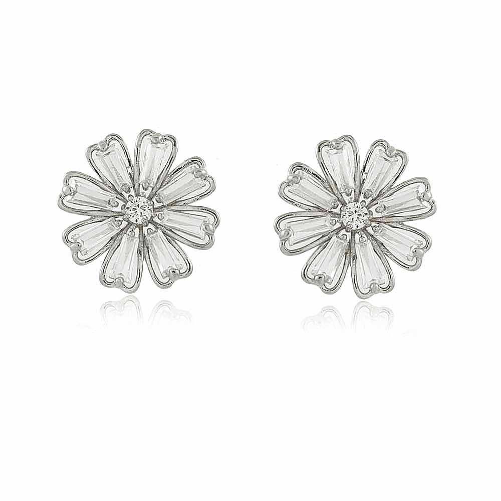 Brinco Adelia: Brinco Flor Delicado com cristais e Banho em Ródio Branco