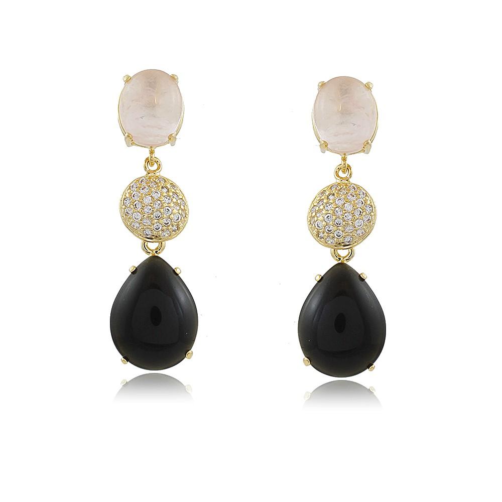 Brinco Angelita: Brinco Pedras Naturais Elegante