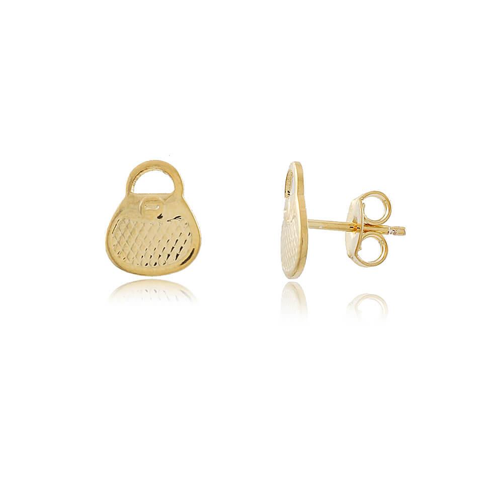 Brinco Ayla: Brinco Dourado em Forma de Bolsa Pequena