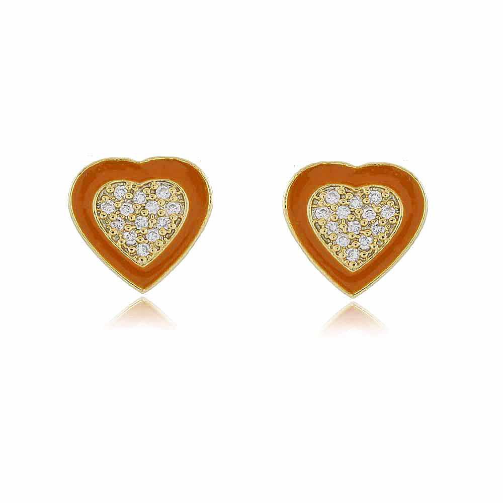 Brinco Betina: Brinco Pequeno Coração Caramelo Cravejado em Cristais