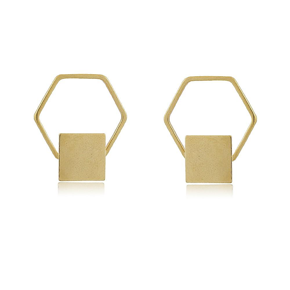 Brinco Ceci: Brinco Geométrico Médio Hexágono com Quadrado no Centro
