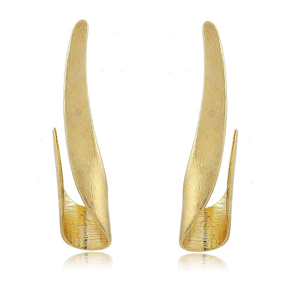 Brinco Celiny: Brinco Curva Elegante Dourado