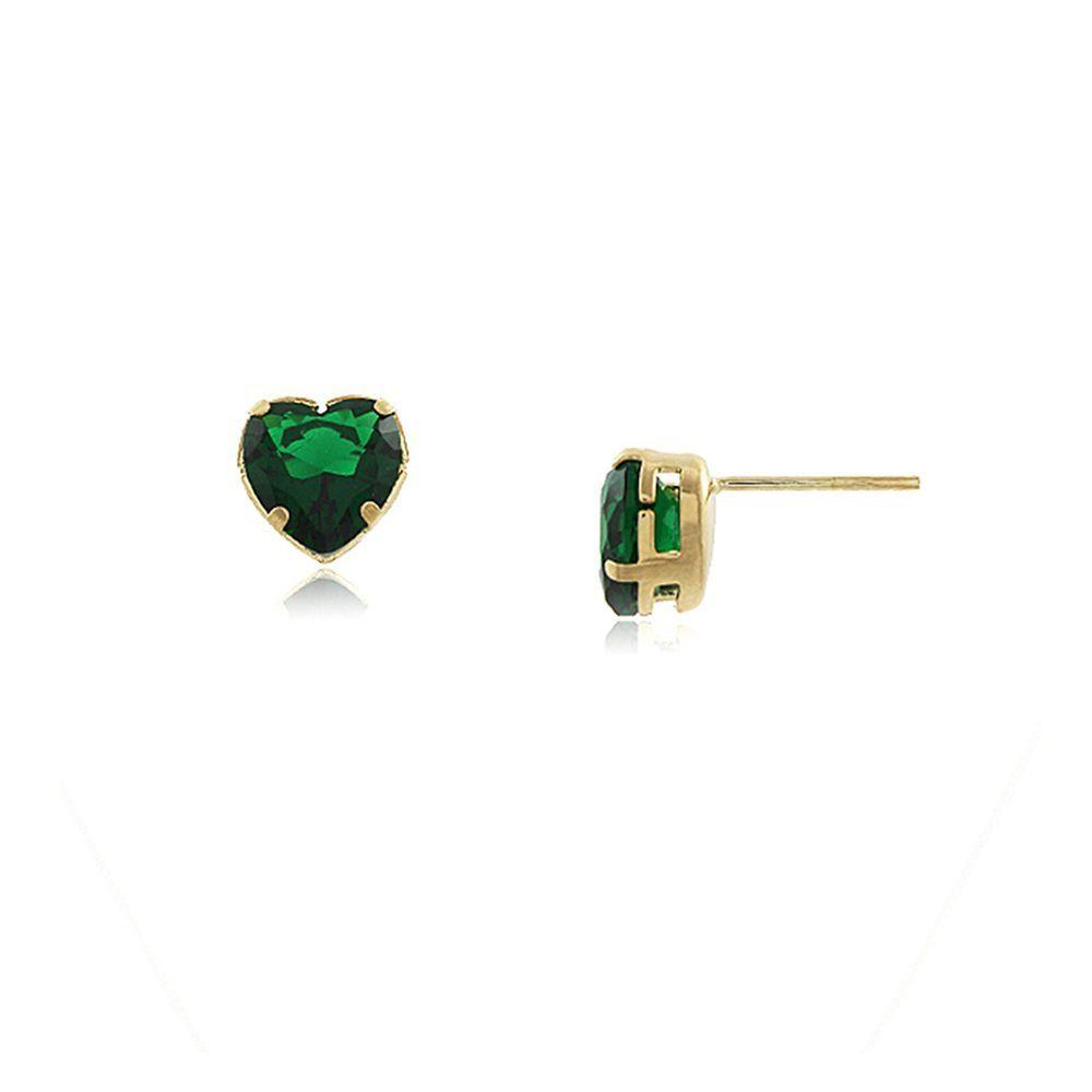 Brinco De Coração Esmeralda - Ouro