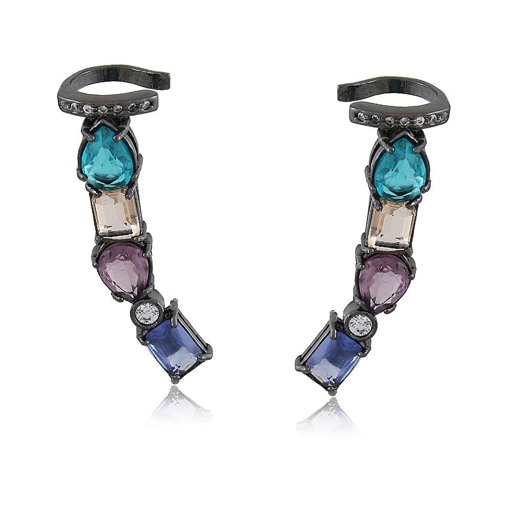 Brinco Florence: Brinco Ear Cuff Sofisticado Com Pedras Coloridas