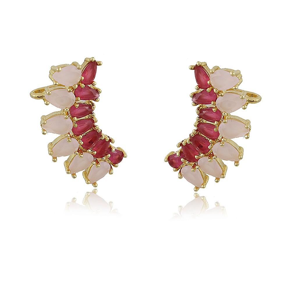 Brinco Florência Ear Cuff Com Pedras Rubi e Quartzo Rosa