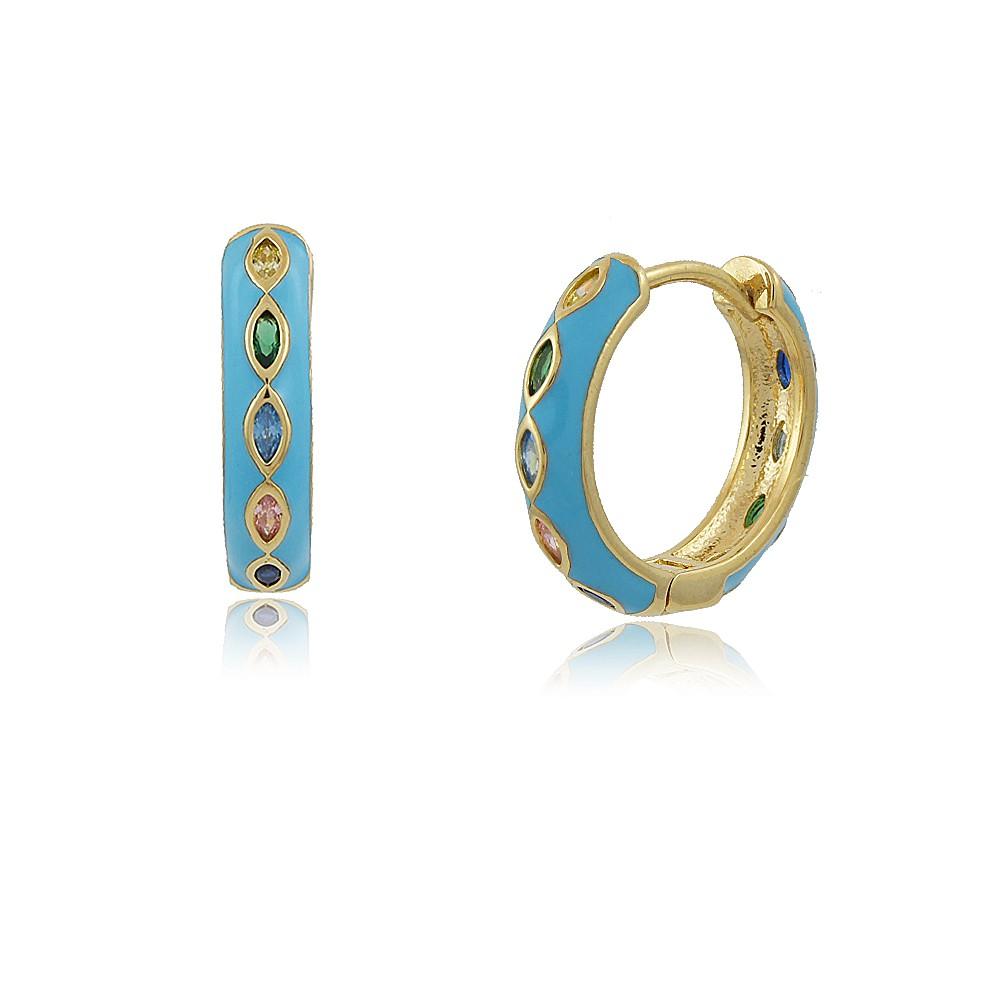 Brinco Frida: Brinco Argolinha Com Fecho Azul e Pedras Coloridas