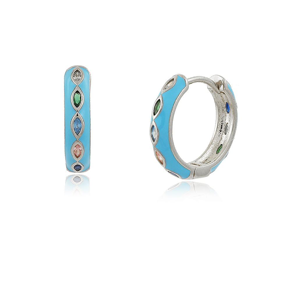 Brinco Frida: Brinco Argolinha Prata Com Fecho Azul e Pedras Coloridas