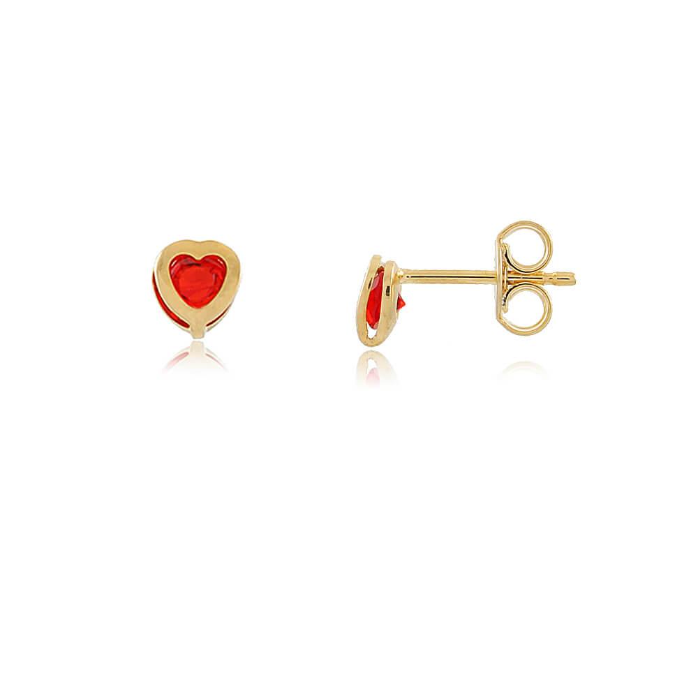 Brinco Isadora: Brinco com Pequeno Coração Vermelho