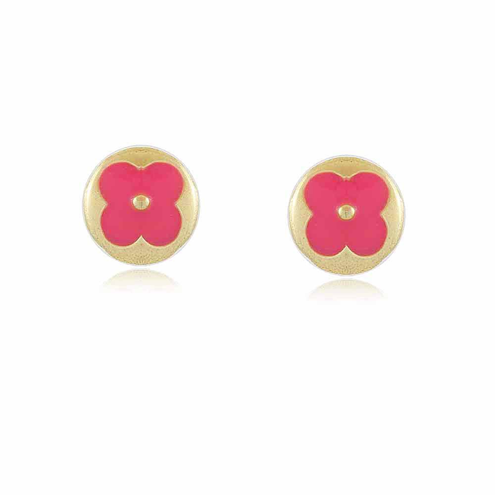 Brinco Juju Infantil Flor Rosa Antialérgico Banho Em Ouro