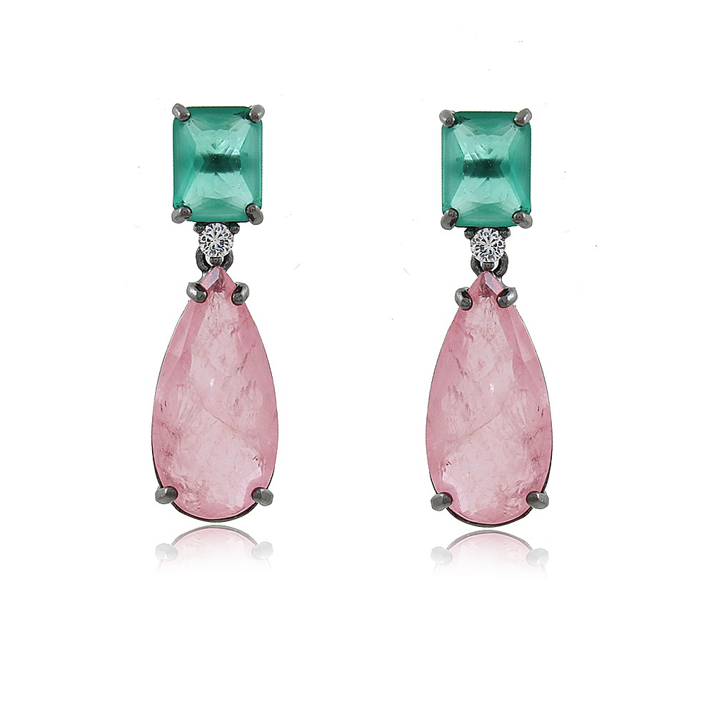 Brinco Maísa: Brinco Gota Quartzo Rosa com pedra Esmeralda e Banho em Ródio Branco