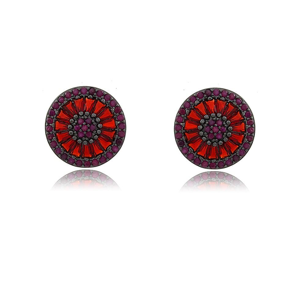 Brinco Pequeno Redondo Com Cristais Rubi Cravejado em Pedras  de Zircônia lilás Com Banho em Ródio Negro
