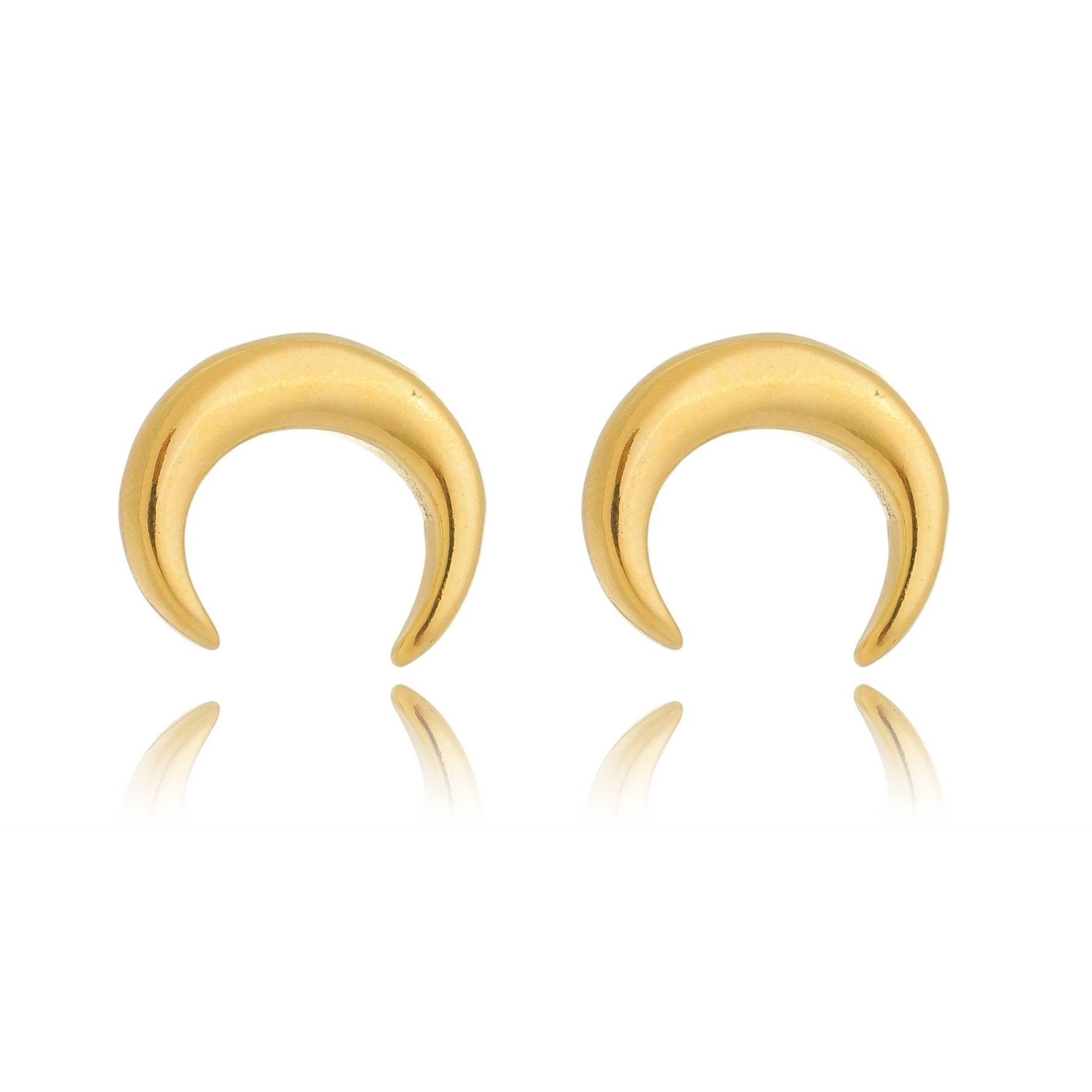 Brinco semi argola com formato de lua crescente banho ouro 18K