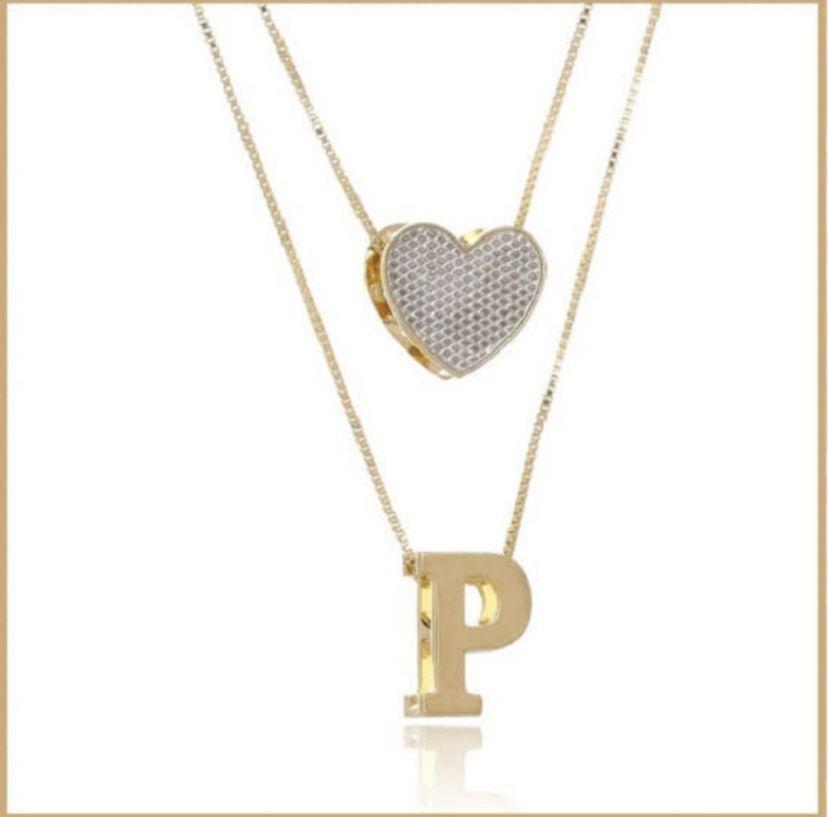 Colar com Letra e Coração Personalizados