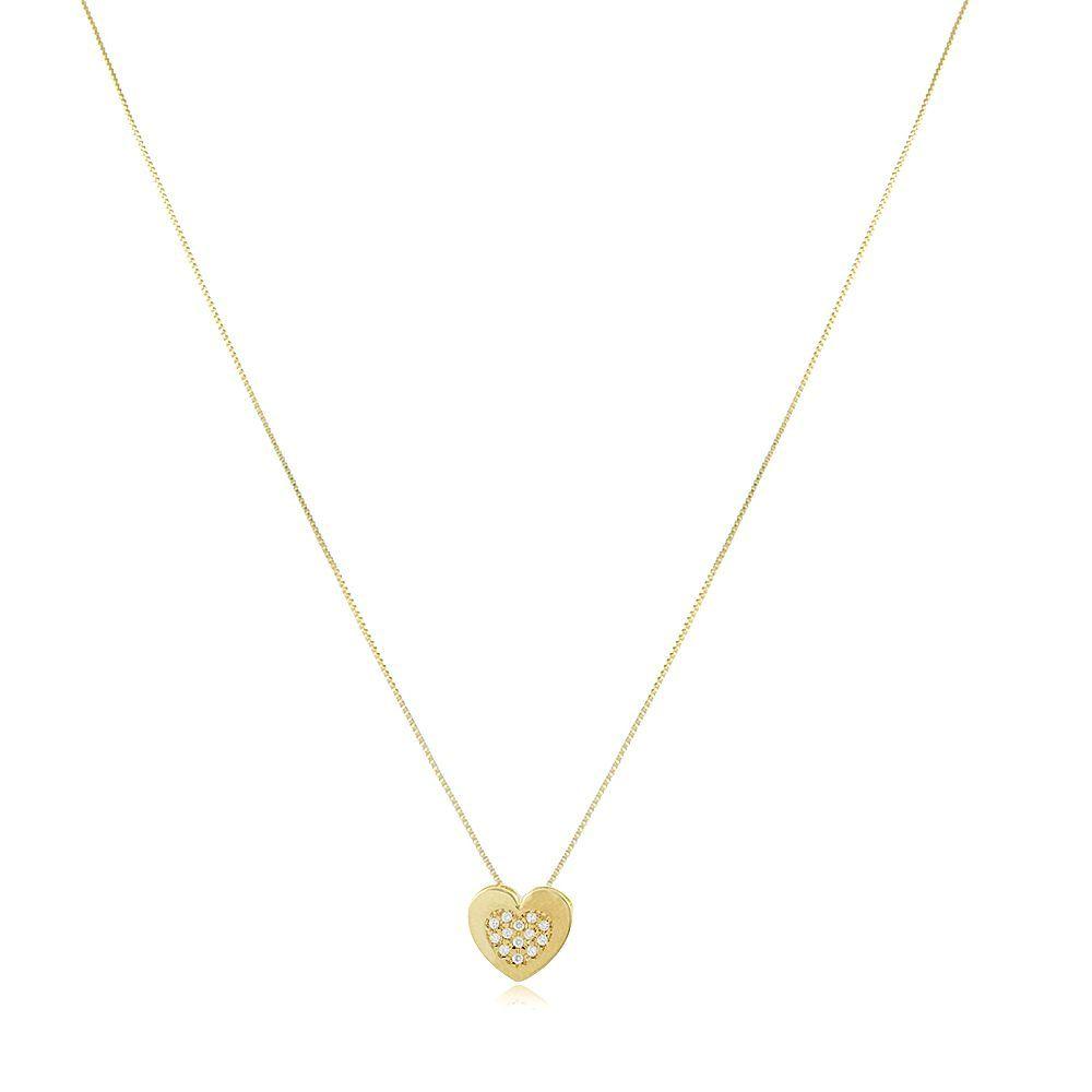 Colar Sabrina:  Coração Cravejado Zircônia - Ouro