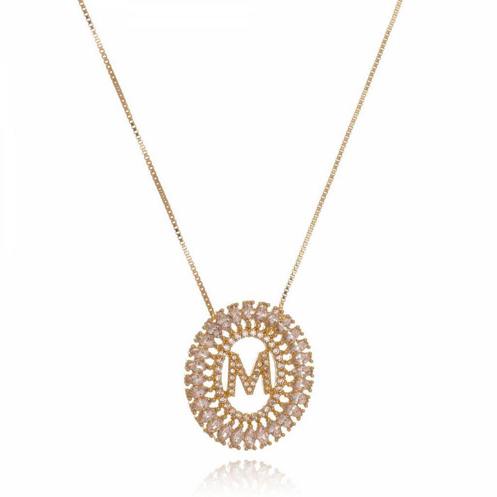 Colar Mandala Cravejado com Letra - Personalizado