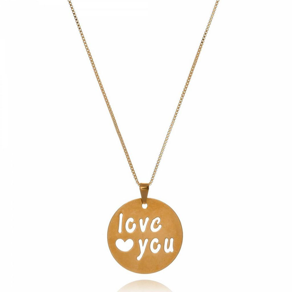 Colar Medalha Love You Vazada