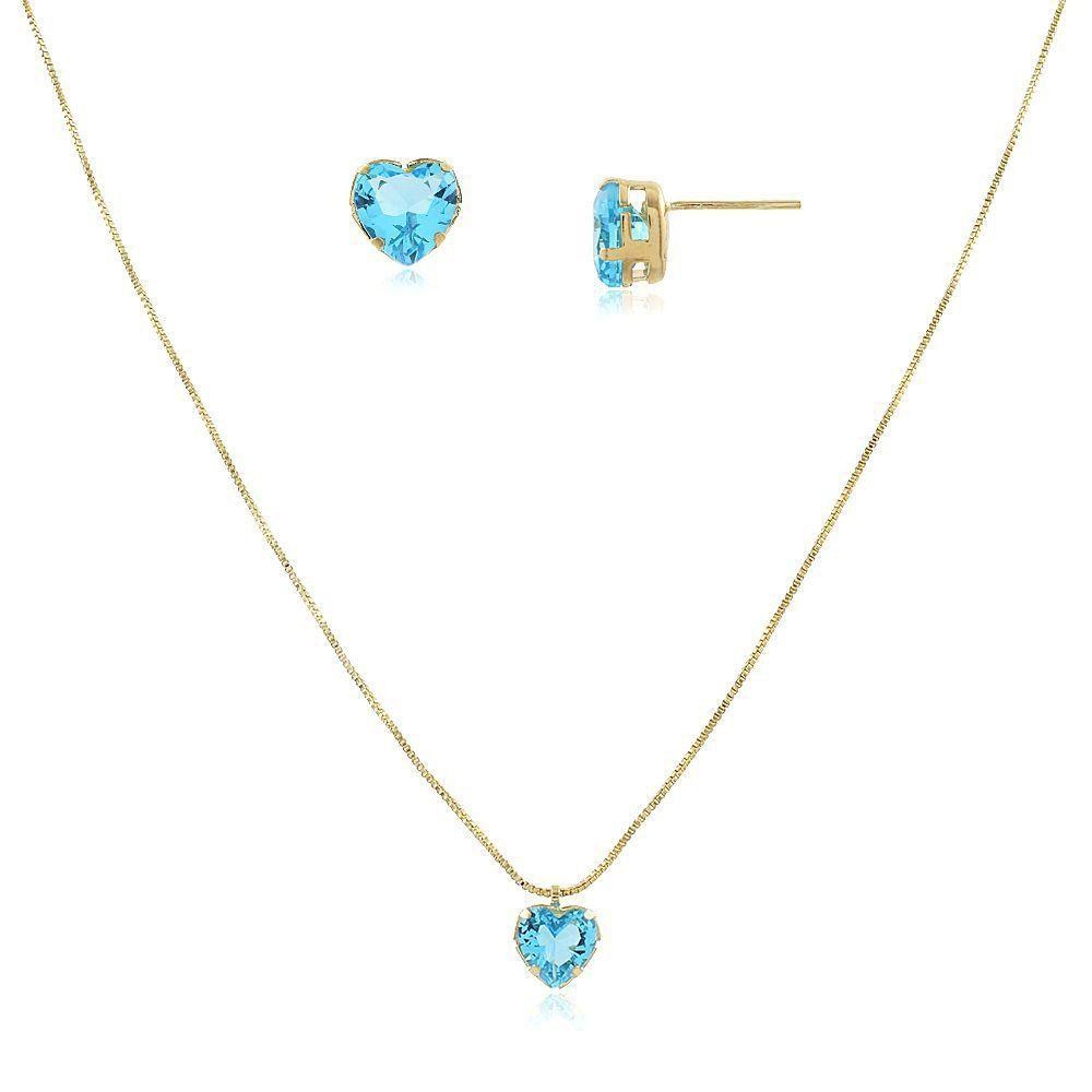 Conjunto De Colar e Brinco Coração Azul Turquesa Folheado em Ouro 18k