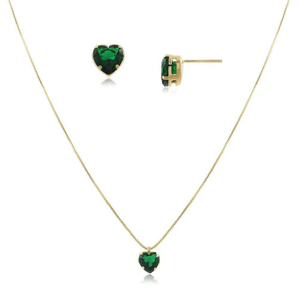 Conjunto de Colar e Brinco Coração Verde Esmeralda  Folheado em Ouro 18k