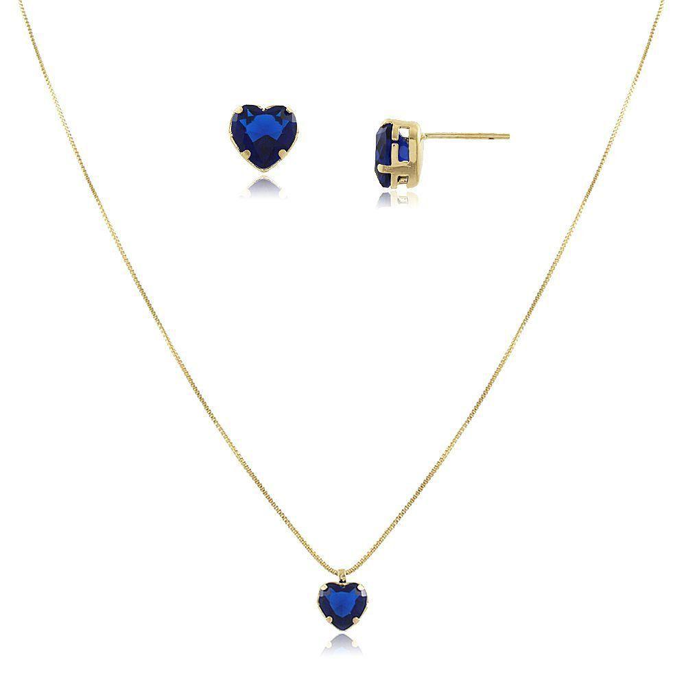 Conjunto de Colar e Brinco Coração Azul Safira Folheado a Ouro 18k