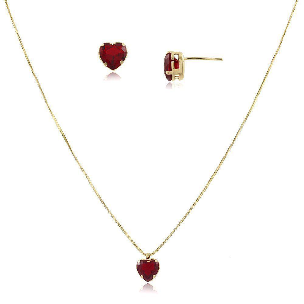 Conjunto de Colar e Brinco Coração Vermelho Rubi Folheado em Ouro 18k