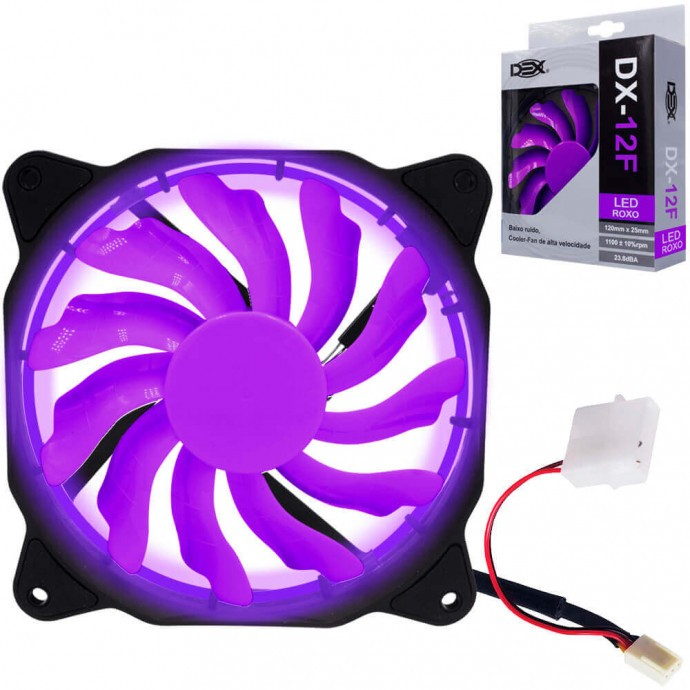 Cooler 120 x 120mm Led Roxo, DEX DX-12F