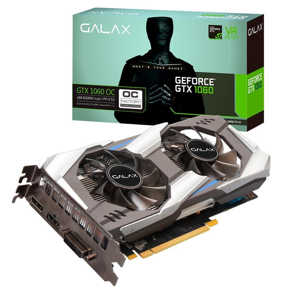 Placa de Vídeo PCI-e DDR5 6GB 192BITS, GTX 1060 OC (HDMI/DVI/DP)