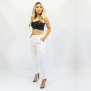 Calça Feminina Jogger Branca com Laço Creme na Barra (Elastano)