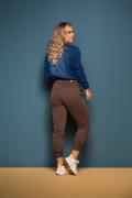Calça Feminina Jogger Cappuccino com Barra (Elastano)