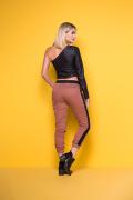 Calça Feminina Jogger Colorida com Faixa na Lateral