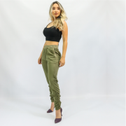 Calça Feminina Jogger Verde Militar com Barra Franzida (Elastano)