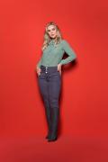 Calça Feminina Modeladora Colorida Cintura Alta Azul Escuro Básica