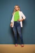 Calça Jeans Feminina Azul Médio Cigarrete com Zíper na Barra