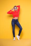 Calça Jeans Feminina Cigarrete Azul Escuro Básica