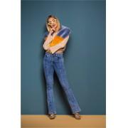 Calça Jeans Feminina Flare Azul Médio Cintura Alta
