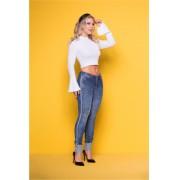 Calça Jeans Feminina Levanta Bumbum Azul Médio com Brilho