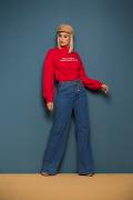 Calça Jeans Feminina Pantalona Azul Médio com Cinto