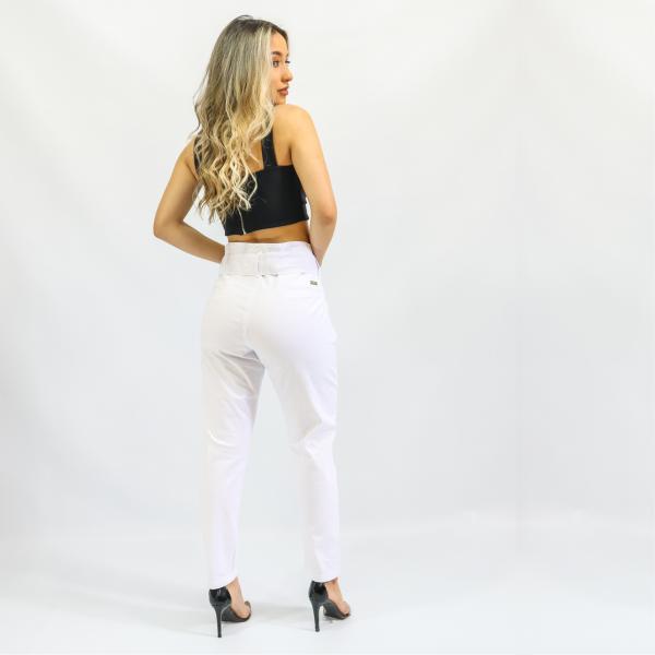 Calça Feminina Jogger Clochard Branca com Cinto (Elastano)