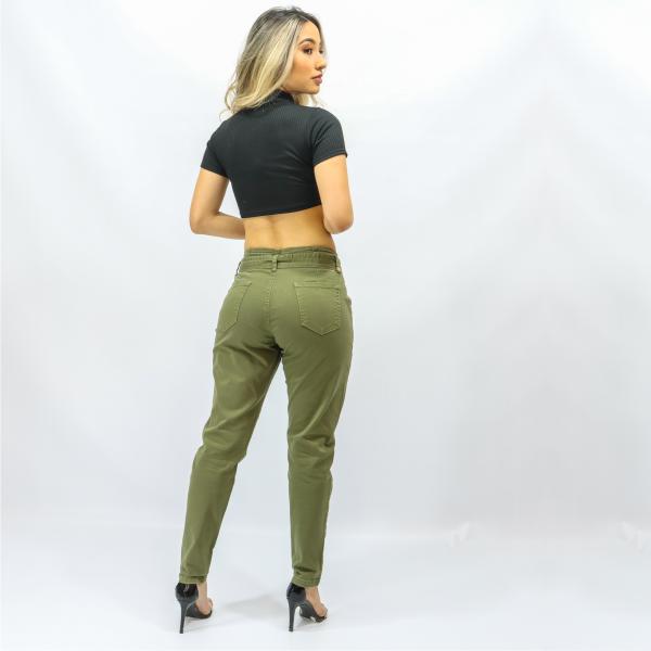 Calça Feminina Verde Militar Clochard com Cinto (Elastano)