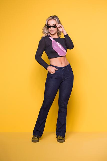 Calça Jeans Feminina Flare Azul Escura Básica