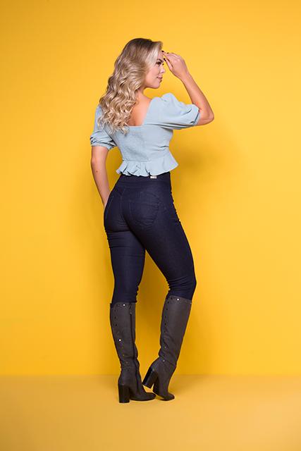 Calça Jeans Feminina Modeladora Cintura Alta Azul Escuro Básica