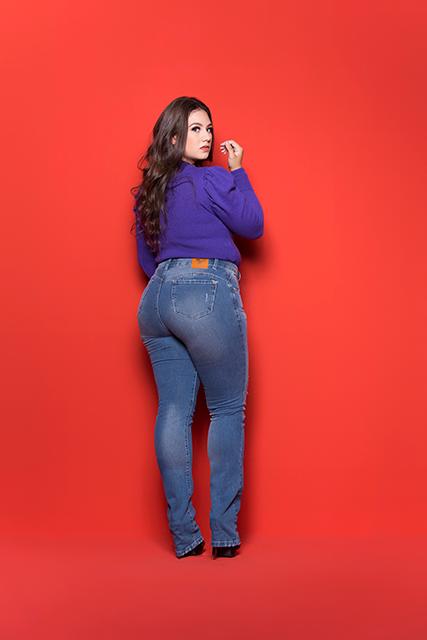Calça Jeans Feminina Plus Azul Acizentado Básica