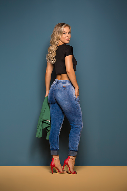 Calça Jeans Jogger Feminina Azul Médio