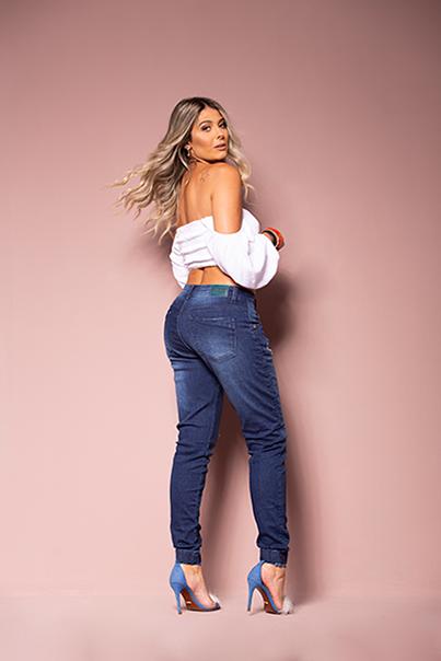 Calça Jeans Jogger Feminina Azul Médio Destroyed