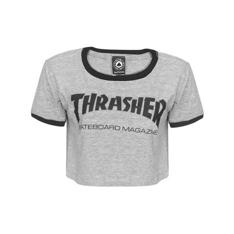 Cropped Thrasher Mag Cinza Logo Preto